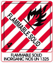 Warning Flammable Solid with Note Shipping Labels